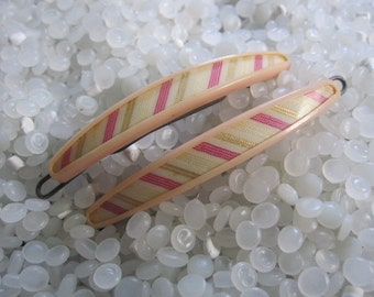 vitnage barrette, Plastic pink with striped features, rare pair