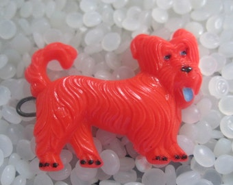 vintage barrette, bright red dog