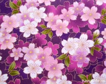 Japanese Kimono Fabric - Sakura on Purple - Fat Quarter (syu150615)