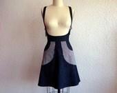 Reserved for Deborah- Blue denim suspender skirt with striped pockets Sz 10
