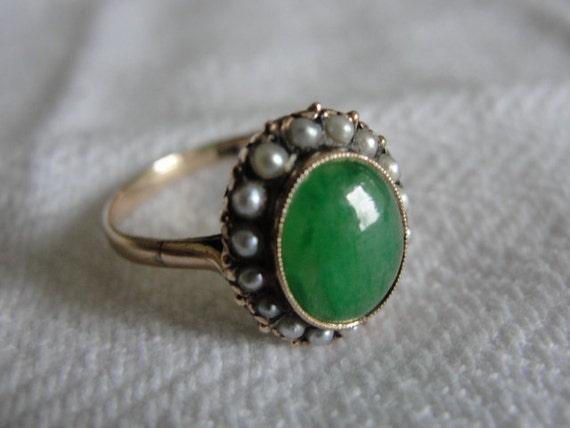 antique engagement ring jade and seed pearls 14k rose gold. Black Bedroom Furniture Sets. Home Design Ideas