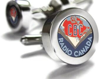 CBC Retro 1940's Cufflinks - retro Canadian gift, Canada themed gifts, retro gifts, Canadian gifts, WWII era, Canadian Cuff links, dad gift