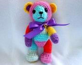 Small Crochet Teddy Bear in MultiColor Stripe Yarn, Sock Yarn, Gold Key, Stuffed Bear, Stuffed Animal, OOAK