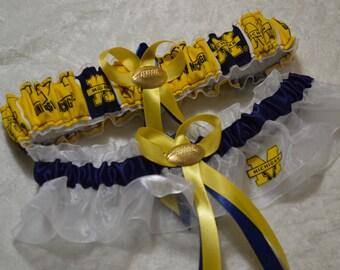 Handmade wedding garters keepsake and toss UNIVERSITY OF MICHIGAN wedding garter set