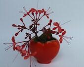 Vintage Heart Vase Orange Small Bud Vase Valentines Day