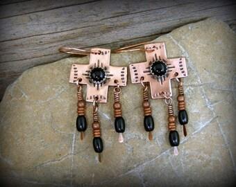Southwestern Native American style dangle copper cross earrings tribal jewelry