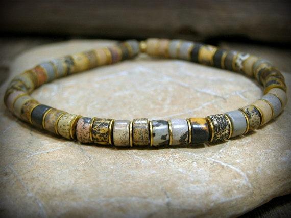 Mens Beaded Bracelet, Bracelet for Men, Jasper Stone Bracelet, Mens Jewelry, Bead Bracelet, Native American, Mens Bracelet, Stack Bracelet