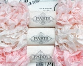 Scrunched Seam Binding, Shabby Crinkled Ribbon,Blush,Pink, Cream, Rayon Ribbon,Doll Making, Vintage Junk Journal, Crazy Quilting, Pink Melts