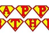 Instant Download Superhero Banner Flag Garland Printable Print it yourself Happy Birthday Party