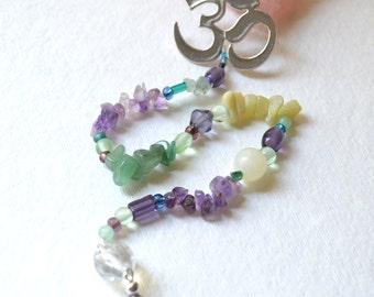 OM Gemstone Suncatcher, Meditation Beads - Handmade OOAK -Amethyst, Aventurine, Jade, Crystal, Metaphysical Healing Stones, Free US Shipping