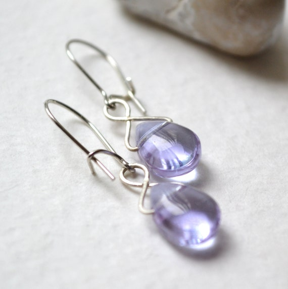 Drops of Lavender Earrings - Silver, Glass - Handmade OOAK - Hypoallergenic, Nickel Free Hoops, Free US Shipping