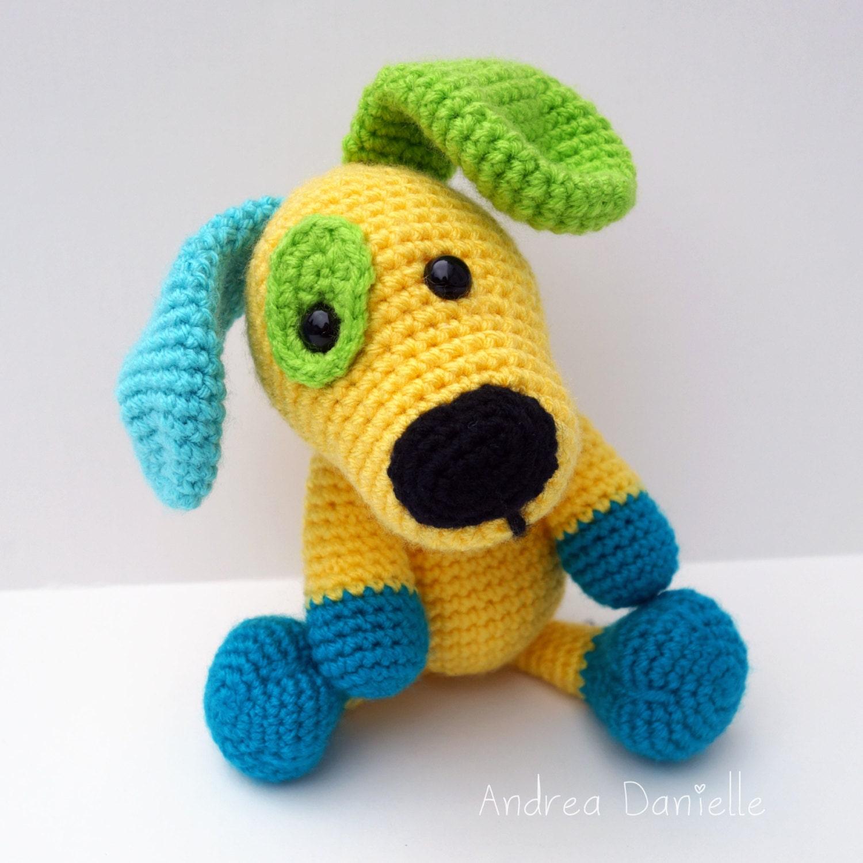 Amigurumi Care Instructions : Crochet Puppy Dog Toy Amigurumi: Yellow Turquoise Teal