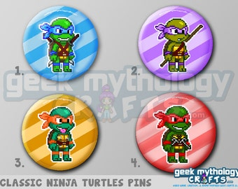 """Ninja Turtles TMNT 80s Classic Pixel Art 1.5"""" Pin Buttons or Magnets"""