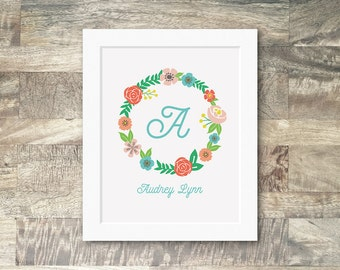 nursery monogram print, personalized nursery art, initial letter wall art, baby girl nursery decor, nursery wall art, floral monogram