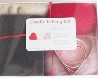 Needle Felting Heart Kit, Wool Hearts Kit, DIY Needle Felted Hearts