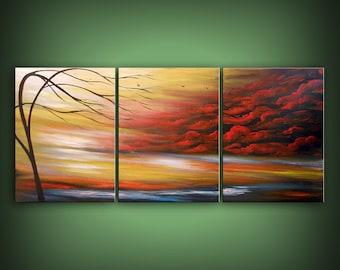 large abstract painting acrylic wall hanging wall art home decor wall decor original painting landscape sky cloud birds HUGE 66 x 28  mattsa