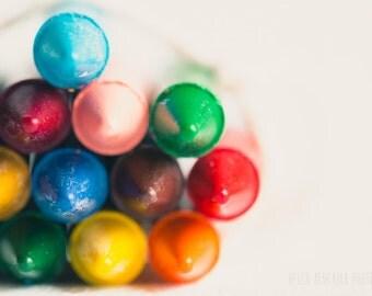 vibrant crayon photograph, kids playroom decor, nursery decor, rainbow colors, modern nursery, crayon print, nursery crayon art, crayon tips