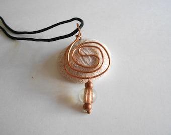 Copper Swirl Pendant Copper Wire Swirl Black Cord Necklace Black Rat Tail Cord Brown Beads Copper Pendant Wire Pendant