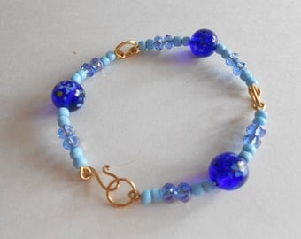 Blue Beads Bracelet Glass Beads Blue Glass Beads China Crystal Beads Wired Bracelet Blue Bracelet Hand Wired