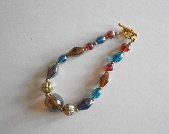 Blue Beads Bracelet Gold Beads Bracelet Glass Beads Bracelet Blue Bracelet Gold Bracelet India Glass Beads Gold Tone Findings