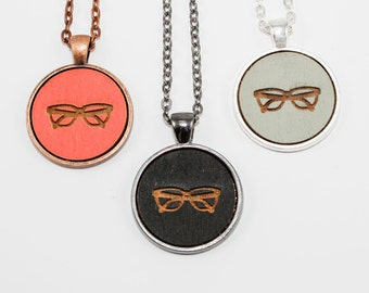 Eye Glasses Pendant Necklace - Laser Engraved Wooden Cameo (Choose Your Color / Personalized Jewelry)