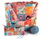 Large Knitting Project Bag Crochet Tote - Hello Tokyo