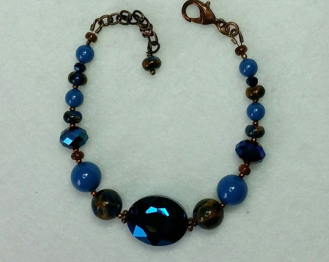 Midnight Blues Bracelet with Goldstone