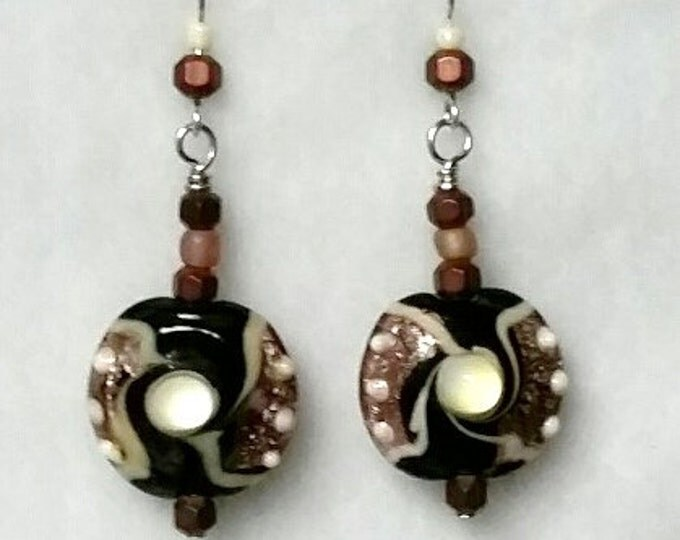 Lampwork Bead Drop Earrings with Coppery Metallic Pink, Textured Pearly Bumps, Black and Pearl Swirls