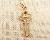 Two Available Vintage 14K Gold House Key Charm