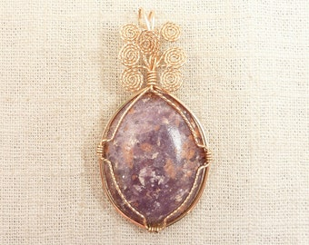 Vintage Goldfilled Wire Wrapped Mica Composite Pink Stone Pendant