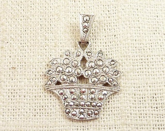 SALE ---- Vintage Sterling and Marcasite Basket of Flowers Pendant