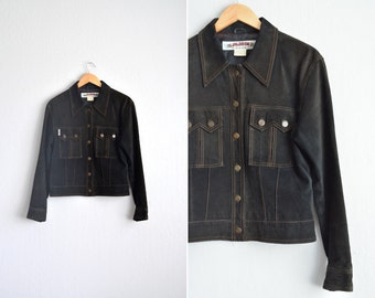 vintage '90s DARK BROWN leather SUEDE collared button-up jacket. size l.