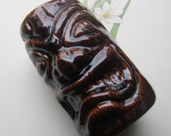 Vintage Tiki Vase * Brown Glazed Ceramic  - Hand Crafted Polynesian Hawaiian - Vintage 1960s