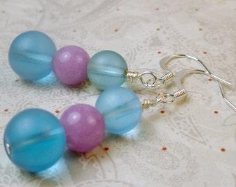 Purple and blue dangle drop earrings, blue frosted and purple jade earrings