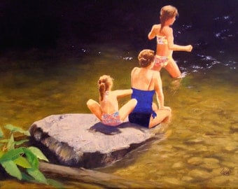 "Art Print, ""Mountain Swimmers,"" Giclee Print on Canvas, Figurative Painting, Free Shipping, Select Your Size"