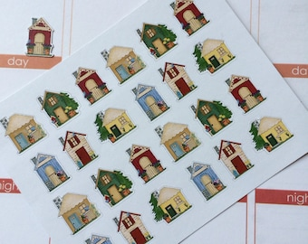 Planner Stickers 24 Small Houses Stickers Plum Paper Stickers  Perfect For The Erin Condren Planner