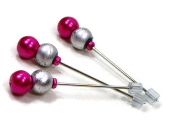 Counting Pins Marking Pins Cross Stitch Needlepoint Hot Pink Fuchsia Silver Stitch Counter DIY Crafts Stitch Counter
