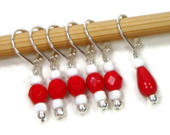 Removable Stitch Markers Crochet Row Markers Red White Locking Knitting Supplies DIY Crafts