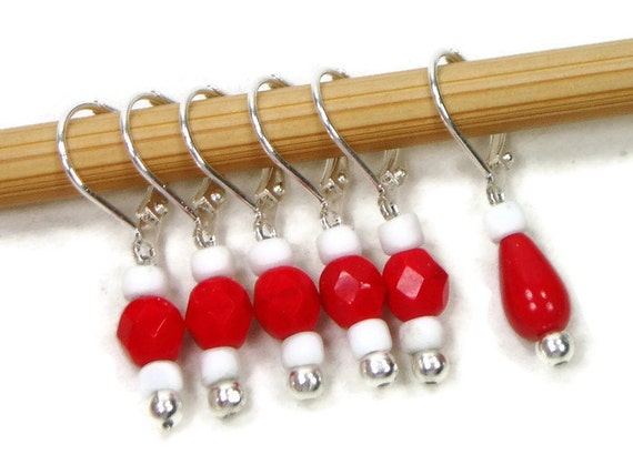 Removable Stitch Markers Crochet Row Markers Red by TJBdesigns