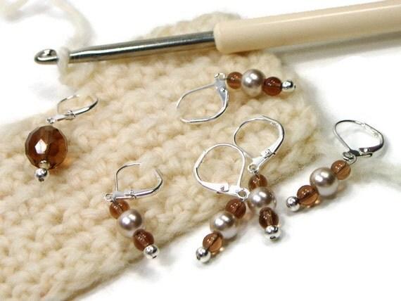 Knitting Locking Stitch Markers : Brown Beige Locking Stitch Markers Crochet Row by TJBdesigns