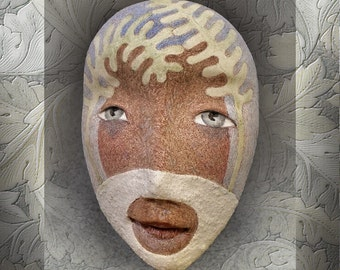 Signs of Life - Mask Sculpture, Porcelain Mask Pendant, Original Mask Art, Wearable Art