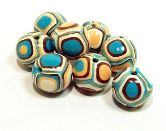 Round Handmade Beads - Polymer Clay - Klimt Pattern - Turquoise, Peach, Cream and Copper