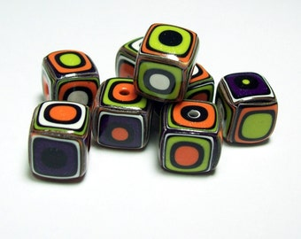 Square Handmade Beads - Polymer Clay - Lime Green, Orange, Purple, White and Black