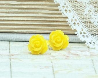 Yellow Rose Studs Rose Stud Earrings Yellow Rose Earrings Yellow Flower Stud Earrings Hypoallergenic