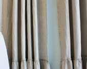 "Reserved for Trisha - LILY..Pocket rod top...A pair of  linen curtain panel with 6"" frayed ruffle...(55x120)"
