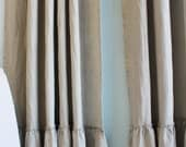 "LILY..Pocket rod top...A pair of  linen curtain panel with 8"" frayed ruffle...(2 panels)"