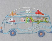 Wave Goodbye... Volkswagen Iron on Hand Embroidery Pattern