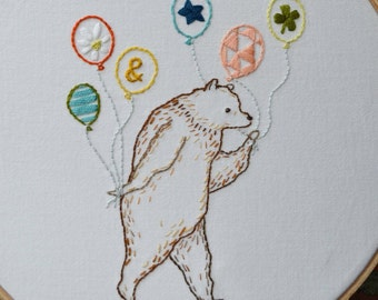 Most Excellent Party Bear Iron on Hand Embroidery Sampler