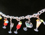 Cocktail Party Charm Bracelet with 8 Cocktail Charms