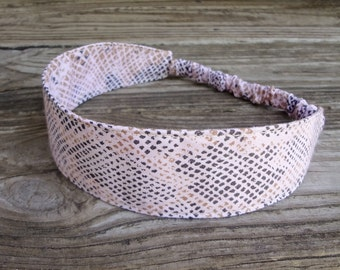 SALE Fabric Headband: Pale Pink Snake Skin Print